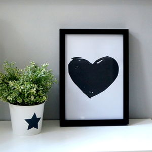 Heart Shape Monochrome Print - pictures & prints for children