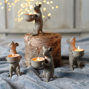 Pair Of Sweet Mice Candle Holders - christmas decorations