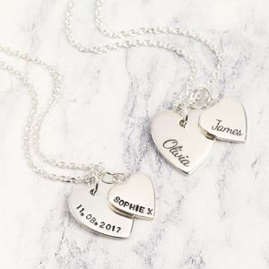Personalised Sterling Silver Double Heart Necklace - necklaces & pendants