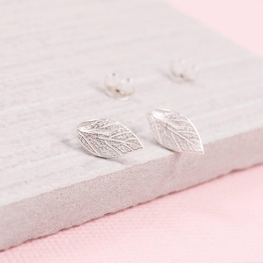 Laurel Leaf Silver Stud Earrings