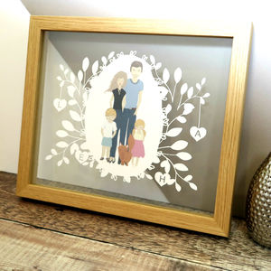 Personalised Family Portrait Illustration Papercut