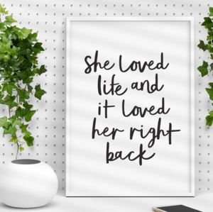 'She Loved Life' Typography Print - typography