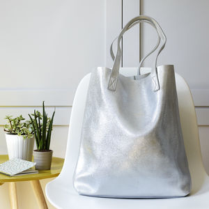 Metallic Leather Tote Bag - christmas clothing & accessories