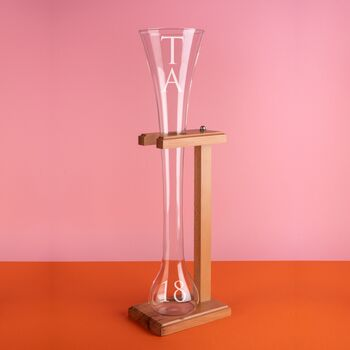 Personalised Half Yard Of Ale Glass With Stand