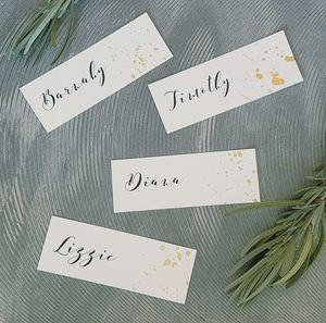 Gold Or Silver Splattered Name Place Cards