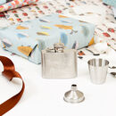 Personalised Compact Hip Flask With Accessories