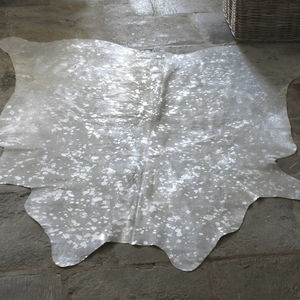 Metallic Cowhide Speckled Rug - home sale