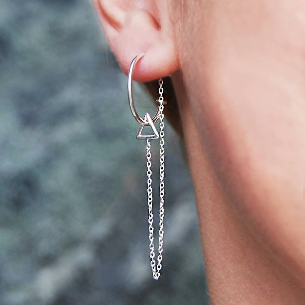 Long Chain Triangle Stud Hoop Silver Earrings