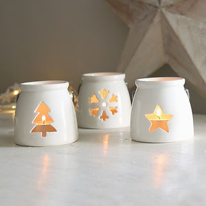 White Porcelain Christmas Tealight - votives & tea lights