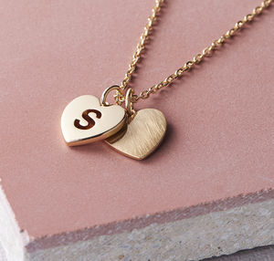 Double Heart Necklace - rose gold jewellery