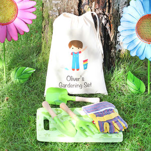 Boys Gardening Set With Personalised Cotton Bag - personalised