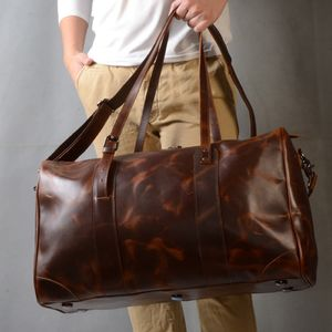 Leather Travel Holdall Bag Personalised Gift For Him
