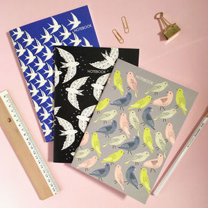 Three Bird Print Notebooks, Gift For Her
