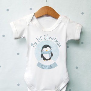 Personalised 1st Christmas Penguin Globe Vest - baby's first christmas