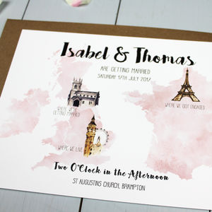 Personalised Destination Wedding Invitation - wedding stationery