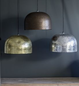 Etched Metal Domed Pendant Shades - pendant lights