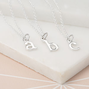 Silver Initial Charm Necklace - gifts for her