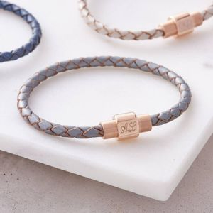 Leather And Personalised Rose Gold Clasp Bracelet - bracelets & bangles