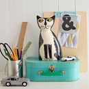 Handmade Ceramic Black And White Cat Money Bank