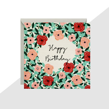 'Happy Birthday' Flowers Mini Card