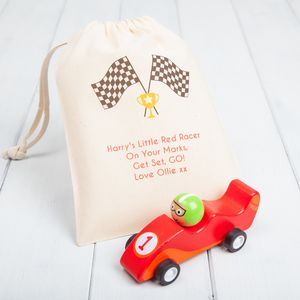 Grand Prix Pull Back Racing Car With Personalised Bag