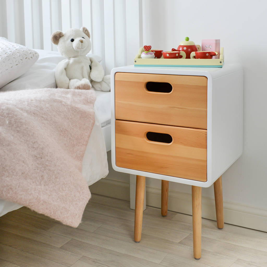children 39 s solid wood bedside table with white finish by
