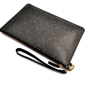 Dark Paisley Leather Clutch Bag
