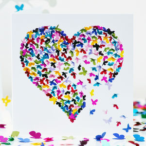 Kaleidoscope Butterfly Heart Valentines Card - birthday cards