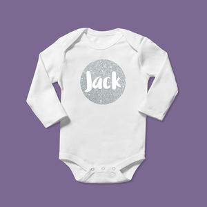 Personalised Sparkly Silver Bubble Design Babygrow Gift