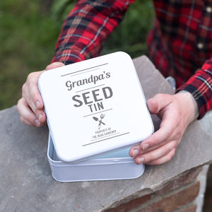 Personalised Garden Seeds Storage Tin - gifts for grandparents