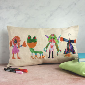 Personalised Child's Drawing Long Linen Cushion - cushions