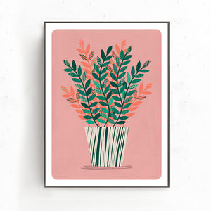 Autumn Plant And Pot Print