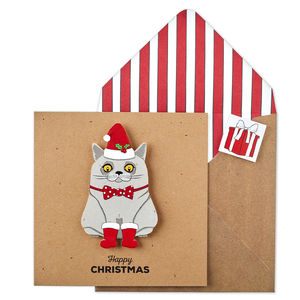 Personalised Christmas Bow Tie Cat Xmas Card