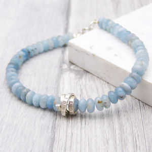 Aquamarine March Birthstone Personalised Bracelet - bracelets & bangles