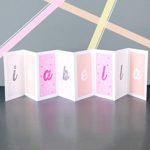 Personalised Girl's Name Concertina Card