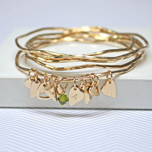 Personalised Heart Bangles With Swarovski Crystals
