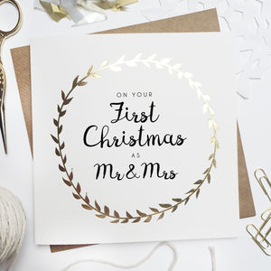 'Your First Christmas As Mr And Mrs' Foiled Card - new in christmas