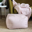 Square Blush Pink Wool Pouffe
