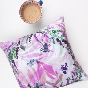 Marble Velvet Cushion Cover With Lucky Heather Print