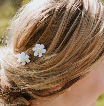 Daisy Pair Of Mini Bridal Or Bridesmaid Haircombs
