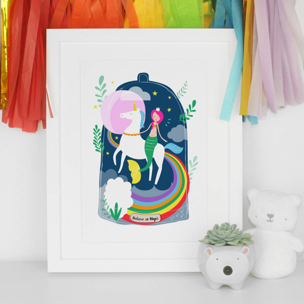 Nursery Art Print Mermaid Unicorn S Wall