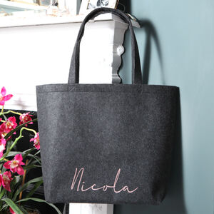 Charcoal Grey Personalised Felt Tote Bag