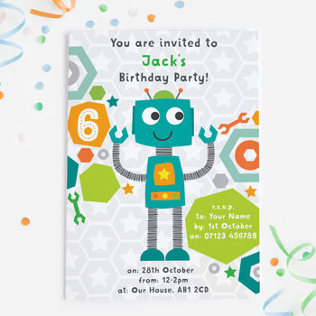 Robot Birthday Party Invitations