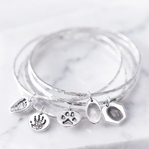 Personalised Print Charm On A Hammered Bangle Bracelet - personalised jewellery