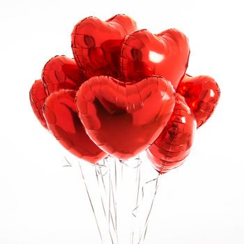 Inflated One Dozen Red Heart Foil Balloons