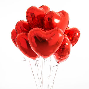 Inflated One Dozen Red Heart Foil Balloons - room decorations