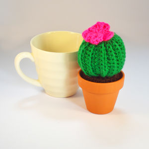 Crocheted Amigurumi Cactus Small Pink And Green
