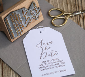 Save The Date Calligraphy Stamp - wedding favours