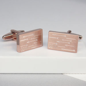 Personalised Arrow And Initial Rectangle Cufflinks - mens