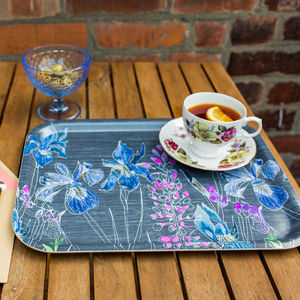 Watercolour In Grey Melamine Tray - trays